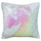 "Tiaronics Magic Reversible Sequins Mermaid Pillow Cases Throw Pillow CoversDecorative Pillowcase 4040cm(1616"") (Light Pink/White)"