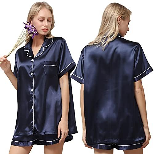 Ladieshow Pijamas Satén Mujer, Pijama Mujer Seda Manga Corta Conjunto de Pijamas Verano para Mujer,...