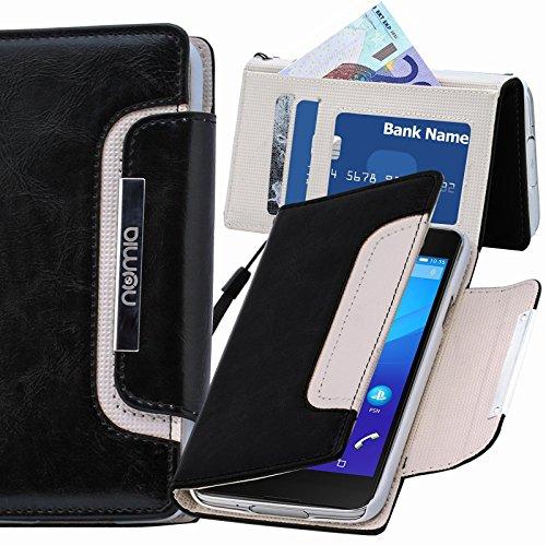 numia Sony Xperia E3 Hülle, Handyhülle Handy Schutzhülle [Book-Style Handytasche mit Standfunktion & Kartenfach] Pu Leder Tasche für Sony Xperia E3 Hülle Cover [Schwarz-Weiss]