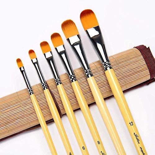 Fuumuui Filbert Pinsel - professionelles Künstlerpinselset mit 6 Stück langem Holzgriff aus Goldener Birke für Acryl-, Öl-, Gouache- und Aquarellmalerei