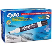 Expo 80001 Low Odor Chisel Point Dry Erase Markers, Low Odor Alcohol-Based Ink, Designed for Whiteboards, Glass and Most Non-Porous Surfaces, Black, 12 Units per Box, Pack of 1 Box