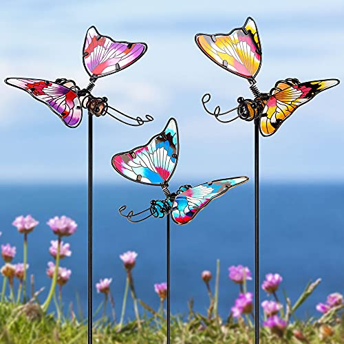 Juegoal Set of 3 Butterfly Garden Stake Decor, 20 Inch Colorful Butterflies Stakes, Glass & Metal Weather Proof Yard Art Ornaments, Indoor Outdoor Lawn Pathway Patio Plant Pot, Flower Bed