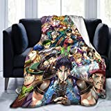 Young-Z JoJo's Bizarre Adventure Blanket Super Soft Flannel Plush Fluffy Lightweight Warm Breathable Throw for Yoga Camping Picnic Cinema Travel Beach Home Decor Siza for Kids Adults 60'X50'