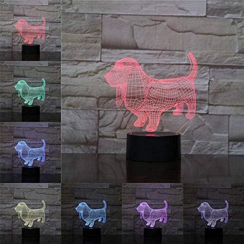 3D Led Luz De Noche Lámpara De Mesa Decorativa Perro Con Toque Mando A Distancia 7 Colores Cambiantes Regalos Perfectos Para Niños Navidad