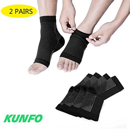 Kunfo calcetines Ultimate/tobilleras para fascitis Plantar, para dolor en el talón, regalo Ideal para corredores de Running y ciclismo, escalada, etc. (2pares de calcetines de compresión por paquete), color negro, tamaño L/XL