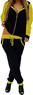 2Pcs Women Tracksuit Splice Zipper Hooded Long Sleeve Pullover Shirt Sport Tops+Long Pants
