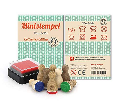 Stemplino Stempelset Wasch-Mix - 8 Ministempel aus Holz Plus Stempelkissen, Mini Stempel Set Mix Waschanleitung Etiketten selbstgemacht