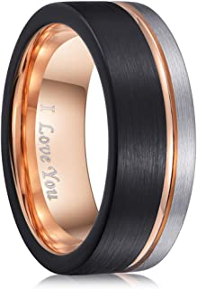 PINONLY Mens Wedding Band Tungsten Carbide Ring Men Engagement Ring Promise Ring Him,8mm Blue Black Rose Gold White,Comfort Fit,Brushed,I Love You