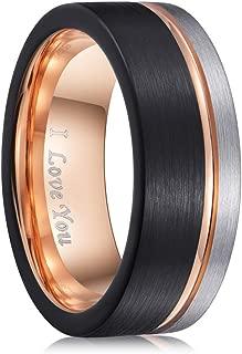 PINONLY Mens Wedding Band Tungsten Carbide Ring Men...