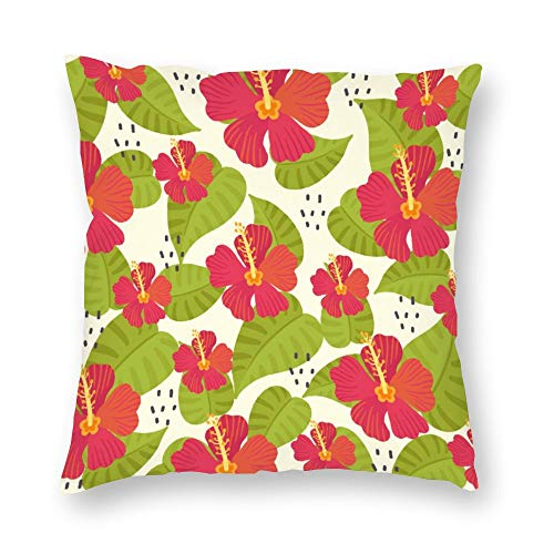 generic branded Pillowcase Single Tropical Red Flowers And Green Leaves Cushion Cover Short Plush with Hidden Zipper Comfortable Square for Bedroom Sofa 18×18 Inch