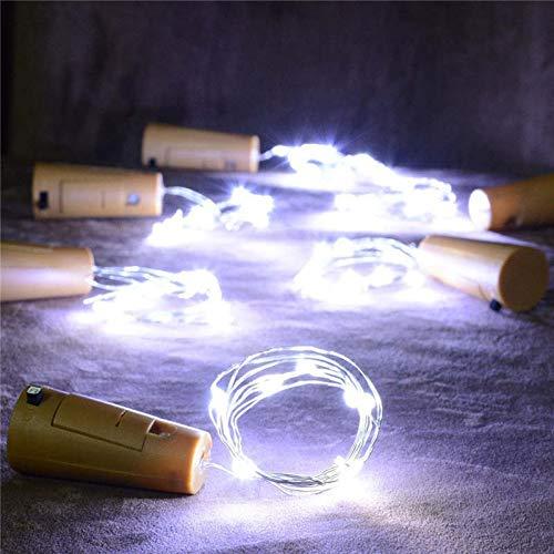 Lichtketting, 2 stuks, warme wijnflessen, op zonne-energie, kurk, in de vorm van een lichtketting, 8 LED's, feeënbasis, lamp, slingers, witte bol, voor bruiloft, buiten B