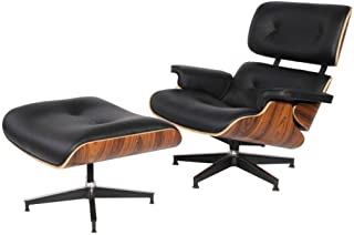 eMod - Mid Century Plywood Eames Lounge Chair & Ottoman Aniline Leather (Black Palisander)