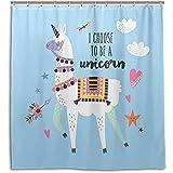 chillChur-DD Shower Curtain Set Tende da doccia Stella Alpaca Llama Tenda da bagno impermeabile Bagno Decorazioni per la casa, 168X183 Cm (66X72 In) con 12 ganci