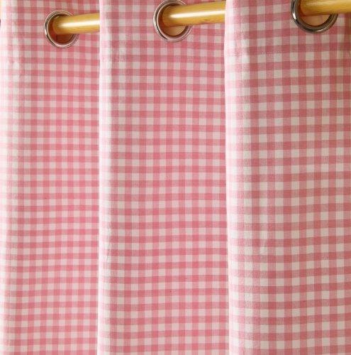 Homescapes handgewobener Vorhang Ösenvorhang Dekoschal Gingham im 2er Set, 117 x 137 cm, 100% Reine Baumwolle, rosa weiß kariert