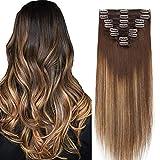 Extensiones de pelo real cabello humano doble trama gruesa balayage Remy cabeza completa 8 piezas recta larga 20nch 150g 4T27P4 marrón medio Ombre oscuro rubio mezcla marrón
