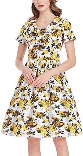 Women s Summer Vintage Dresses 50s Short Sleeve Pleated Swing Dress Yellow Floral Small product image