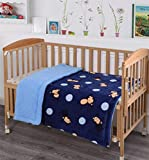Kids Baby Toddler Super Soft and Cozy Blanket, 40' x 50', Blue Plush Sherpa backing Blanket for Boys Kids Toddlers, Blue Monkey design blanket, Bright colors and Quality material Kids Blanket Throw
