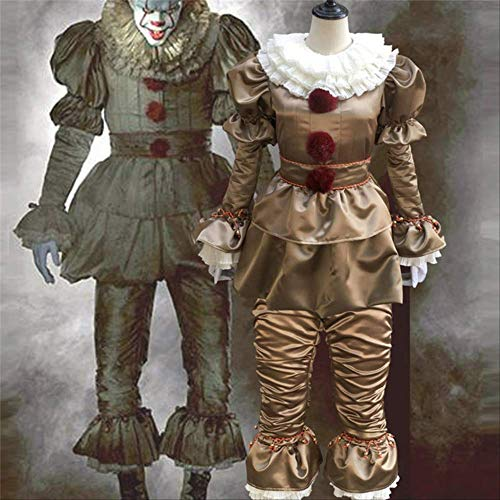 CHNWSJ Kostuum voor halloween Cosplay Kostuums Enge Joker pak Fancy Gescheiden Masker Halloween Party Volwassen Mannen Vrouwen Clown Maskers XL gouden