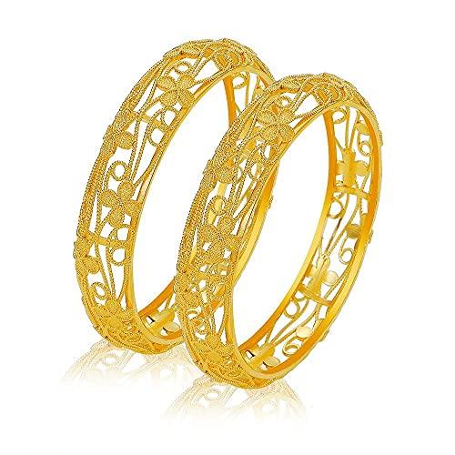 2 unids / lote moda Deliacte joyería de mujer Color dorado pulseras de banlges huecos regalo de novia MY66