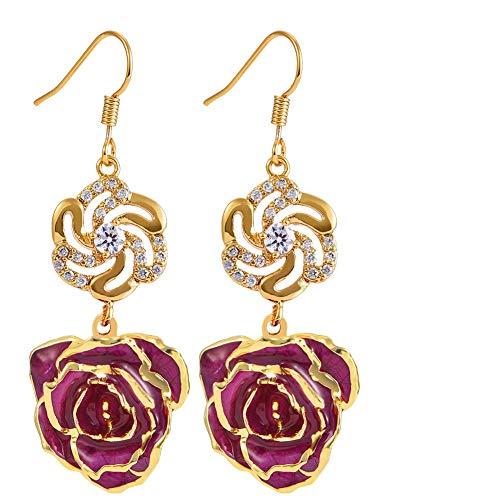 Filfeel Pendientes para mujer 24K Bañado en oro Flor color de rosa Cuelga aretes Orejas Hecho fresca, Regalos cumpleaños Last Forever (Púrpura)