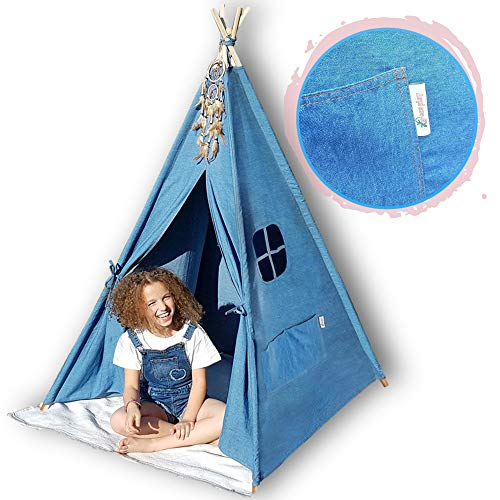 G-Eco Play Teepee Tent for Kids, Blue Denim, Children Toy Playhouse with...