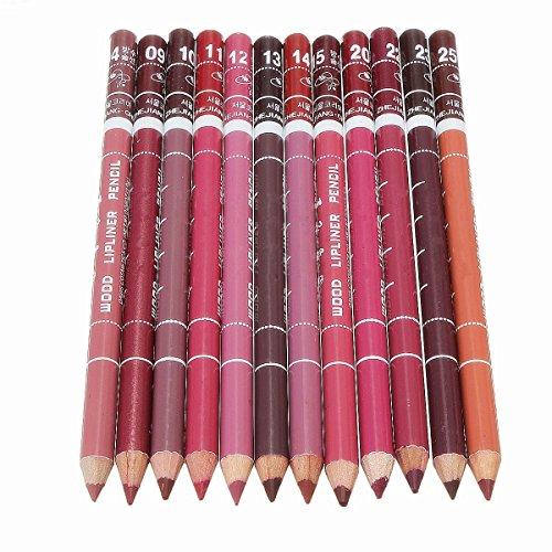 Auped 12 Farben Professionelle Lipliner Wasserdichte Lip Liner Lippenstift Lippenkonturenstift mit Deckel 15CM