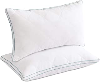 LOVTEX Quilted Gusseted Pillow Set of 2 - Hotel Quality Bed Pillows with Soft Down Alternative Fill for Side/Back Sleeper - Queen,18x26