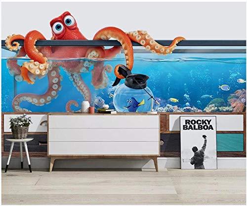 MINCOCO 3D foto behang aangepaste muurschildering vis tank Octopus Aquarium tv achtergrond huisdecoratie woonkamer behang voor muren 3D 350x245cm(137.8x96.5inches)