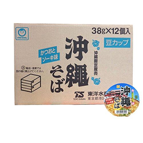 東洋水産 マルちゃん 沖縄そば 豆カップ かつおとソーキ味 1ケース 38g×12個 沖縄限定
