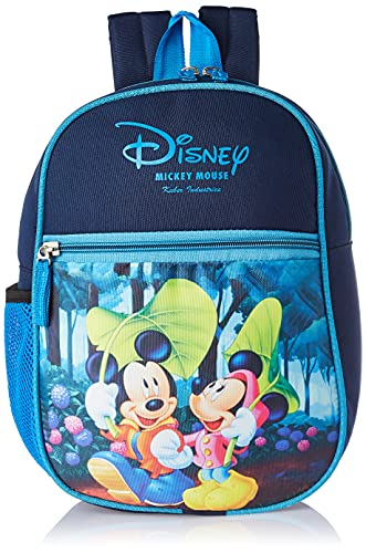 Kuber Industries Disney Mickey Minnie Mouse 13 inch Polyster School Bag/Backpack for Kids, Blue-DISNEY003