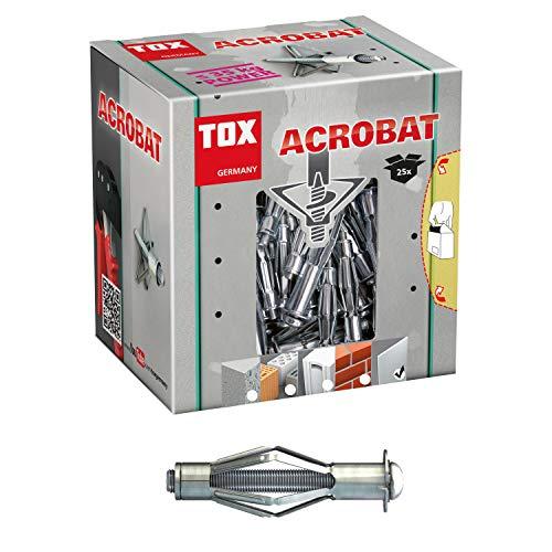 TOX Metall-Hohlraumdübel Acrobat M6 x 52 mm verzinkt, für Befestigungen in Gipskartonplatten, 25 Stück, 035101121
