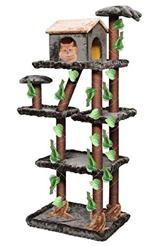 Unique Plush Cat Tree Furniture for Large Cats in Forest Style, Green/Brown