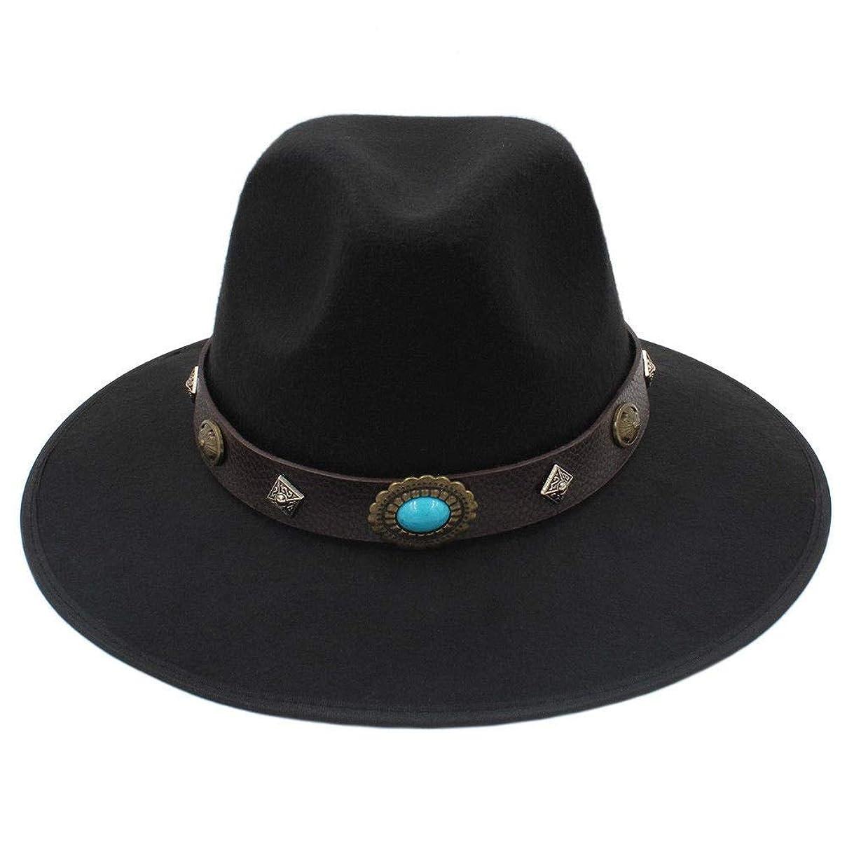 不機嫌土砂降り状態HUIfenghe フラットトップ無地帽子新しい女性ウールキャップファッションエスニックスタイル金属リベットベルトバックルビッグストレートジャズ帽子男性 (Color : Black, Size : 56-58cm)