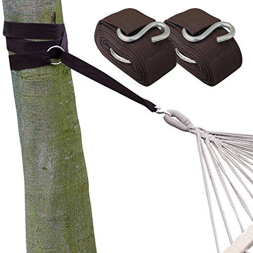AMANKA Ophangset voor Hangmat - 2 Riemen 320x5cm - 250kg Bevestiging - Boom Ophanging Bruin