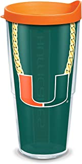 Tervis 1289197 NCAA Miami Hurricanes Chain Insulated Tumbler with Wrap Lid, 24 oz, Clear