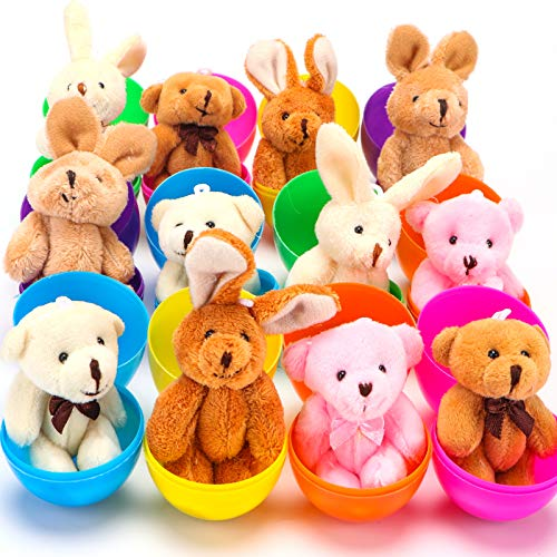 NEWBEA 12 Pack Prefilled Easter Eggs with Stuffed Animals,3.15' Plastic Easter Eggs Filled with Toys,Perfect for Easter Eggs Hunt (12 set)