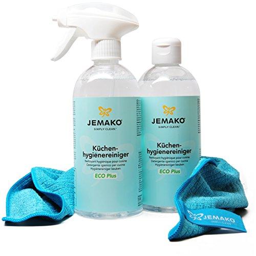 JEMAKO Küchen-Hygienereiniger, ECO Plus 500ml. inkl. Profituch und Schaumpumpe 1L (2 x 500ml)