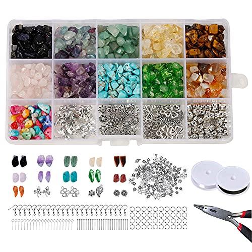 Joycabin - Kit de cuentas de piedras preciosas naturales, 1017 piezas de cuentas de piedra irregulares para pulseras, collares, pendientes, joyas, manualidades, decoraciones