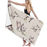 Yuanmeiju 32 X 52 Inch High Absorbency Bath Towel Pig Leaves Animal Lightweight Large Bath Sheet for Beach Home SPA Pool Gym Travel