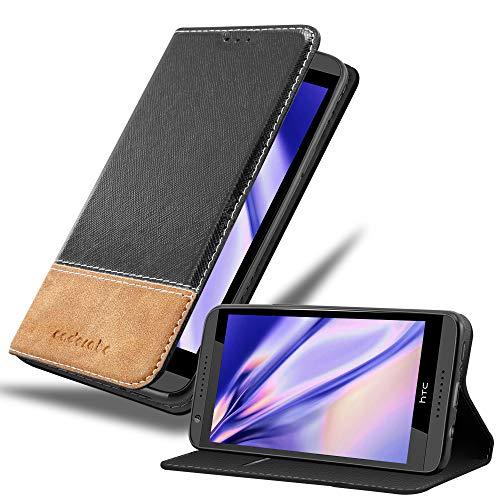 Cadorabo Hülle für HTC Desire 820 - Hülle in SCHWARZ BRAUN – Handyhülle mit Standfunktion & Kartenfach aus Einer Kunstlederkombi - Case Cover Schutzhülle Etui Tasche Book