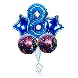 YSJSPOL Globo 5pcs Spiderman Hoja hincha número 1 2 3 4 5 6 7 8 9st Super héroe Fiesta de cumpleaños Decoración Juguetes for niños Partido (Color : Blue 8)