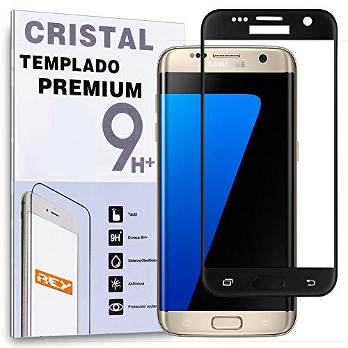 REY Protector de Pantalla Curvo para Samsung Galaxy S6 Edge Plus, Negro, Cristal Vidrio Templado Premium, 3D / 4D / 5D