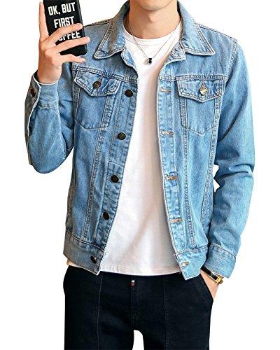 DaiHan Uomo Giacca di Jeans Vintage Classica Giubbotto Denim Giacca Panciotto Sottile,Azzurro,L
