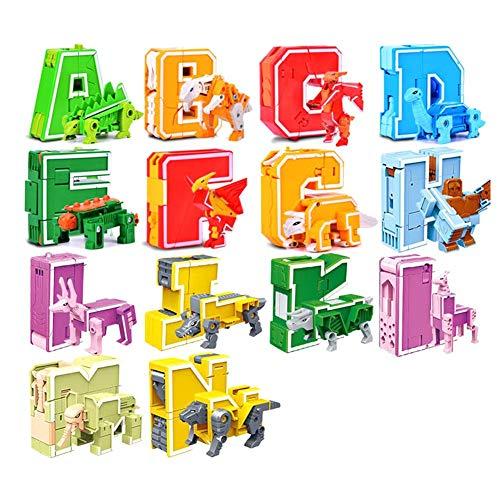 Kioski 26 Letter Deformation Toys Dinosaur Team Animal Fit Robot King Kong Puzzel voor kinderen Letter Deformation Toys Educatief speelgoed voor kinderen