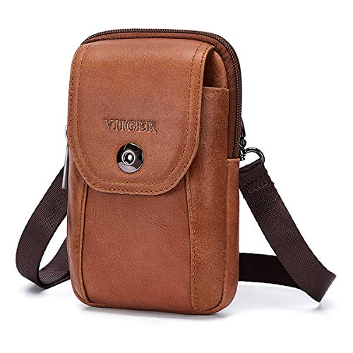 VIIGER Leather Small Travel Purse Crossbody Phone Bag Mens Purses Women Mini Cell Phone Purse Belt Bag for Men Wallet Belt Pouch w Shoulder Strap Compatible for iPhone Xs Max/11 Pro/11 Pro Max, Brown