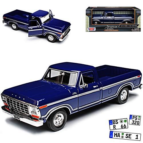 Motormax Ford F-150 Custom Blau Pick-Up 6. Generation 1973-1980 1/24 Modell Auto mit individiuellem Wunschkennzeichen