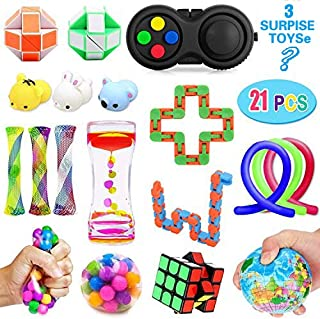 Fidget Toys Set(20 Pack)-Sensory Tools Anti-Anxiety Stress Relief Toys for Children and Adults with ADHD ADD Autism-Include Liquid Motion Timer, Mochi Squishy Toys, Fidget Pad, DNA Stress Ball & More