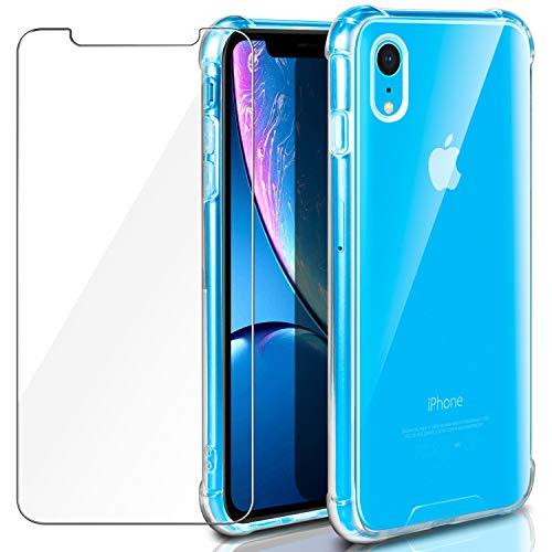 ivencase iPhone XR Funda, iPhone XR Mica ,Crystal Clear resistente a los arañazos flexible de la cubierta transparente dura de la PC con [la absorción de choque] esquina de parachoques de TPU + Cojín de vidrio templado Protector de pantalla para iPhone XR - Claro