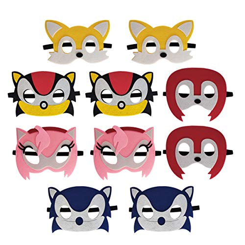 Sonic The Hedgehog Mask for Party 10 pcs, Sonic The Hedgehog Themed Party Supplies, Children