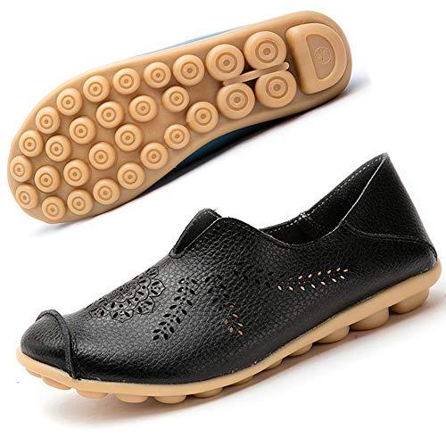 Gaatpot Damen Schuhe Mokassins Leder Bootsschuhe Loafers Fahren Flache Casual Freizeitschuhe Hausschuhe Sommer Schuhe Schwarz EU39.5=CN41